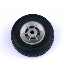 Pair of Rubber Wheels, Nylon Rim ø mm.45