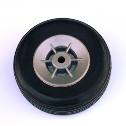 Pair of Rubber Wheels, Nylon Rim ø mm.55
